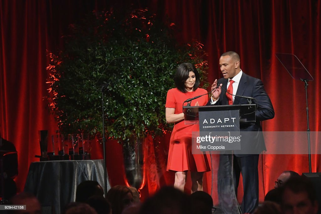 Leadership Awards Co-chairs Tamsen Fadal (L) and Mike Woods speak at the Adapt Leadership Awards Gala 2018 at Cipriani 42nd Street on March 8, 2018 in New York City.