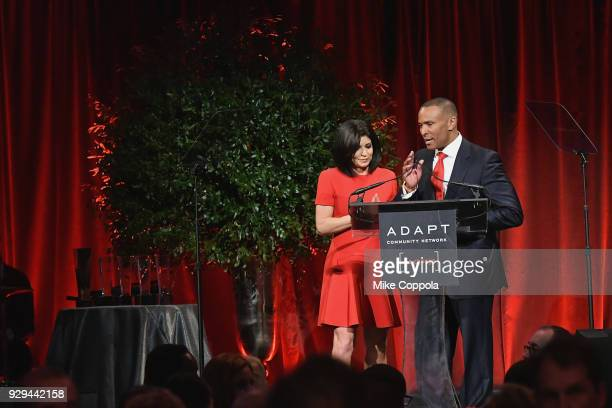 Leadership Awards Cochairs Tamsen Fadal and Mike Woods speak at the Adapt Leadership Awards Gala 2018 at Cipriani 42nd Street on March 8 2018 in New...