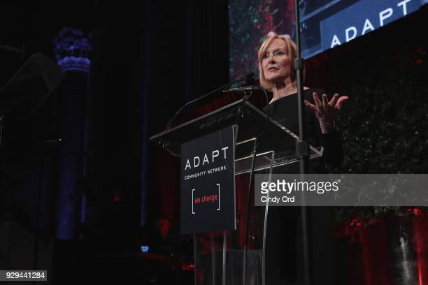 Leadership Awards host Judy Woodruff speaks at the Adapt Leadership Awards Gala 2018 at Cipriani 42nd Street on March 8 2018 in New York City