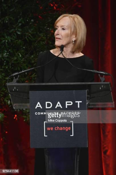 Leadership Awards host Judy Woodruff spesks at Adapt Leadership Awards Gala 2018 at Cipriani 42nd Street on March 8 2018 in New York City