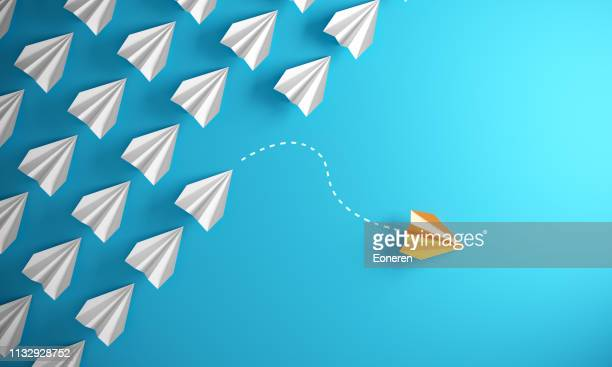 leadership concept with paper airplanes - innovation stock pictures, royalty-free photos & images