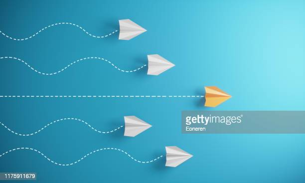 leadership concept with paper airplanes - group of objects stock pictures, royalty-free photos & images
