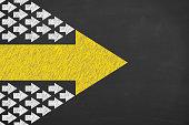 Leadership Concepts on Blackboard Background
