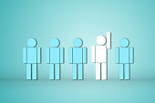 leadership creative idea concept white human outstanding show the hand with other one still standing. business success plan leader.