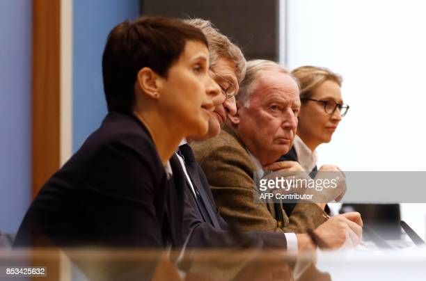 Leadership members of the hardright party AfD Frauke Petry Joerg Meuthen Alexander Gauland and Alice Weidel address a press conference on the day...