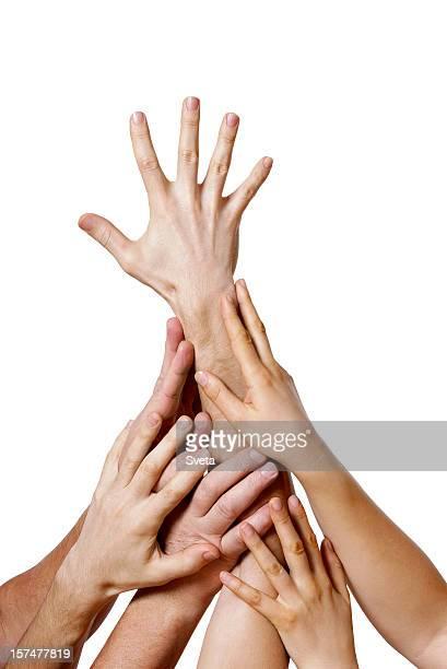 liderazgo - manos en el aire fotografías e imágenes de stock
