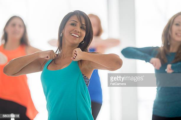 leading a dance fitness class - soul train dancers stock photos and pictures