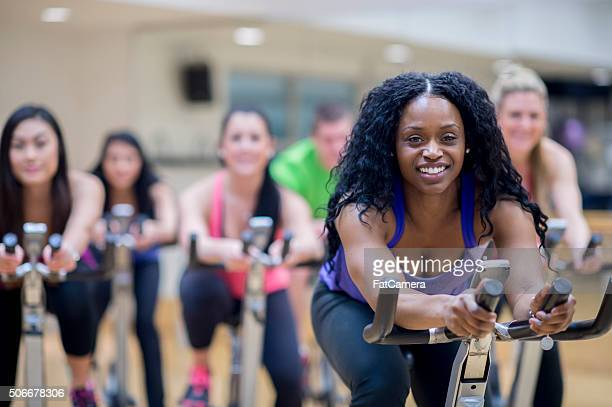 Leading a Spin Class at the Gym