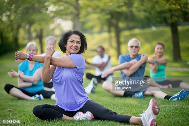 Leading a Senior Fitness Class at the Park