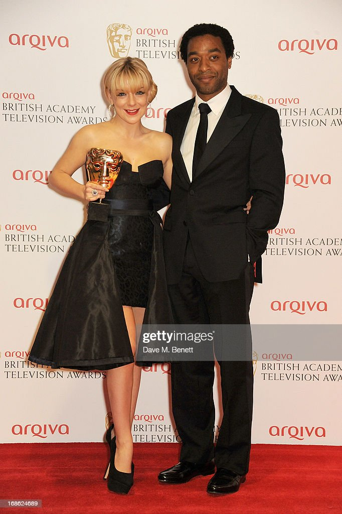 Leading Actress winner Sheridan Smith (L) and presenter Chiwetel Ejiofor pose in the press room at the Arqiva British Academy Television Awards 2013 at the Royal Festival Hall on May 12, 2013 in London, England.