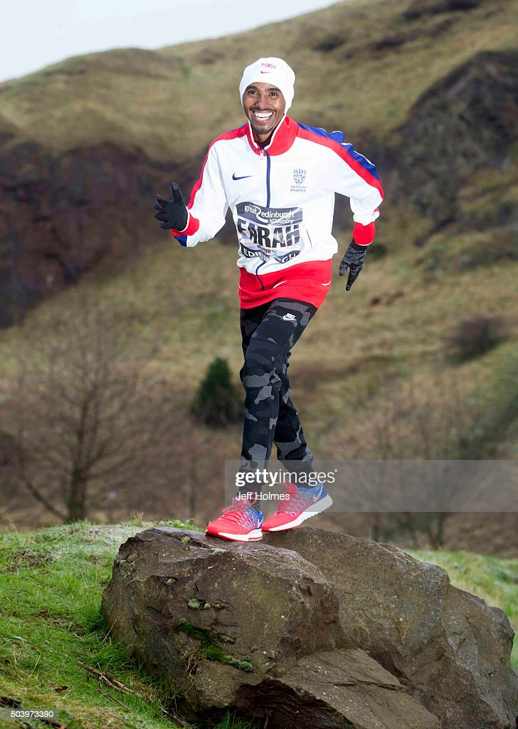 Leading athlete Mo Farah of Great Britain poses during a photocall ahead of the Great Edinburgh XC 2016 in Holyrood park on January 8, 2016 in Edinburgh, Scotland.