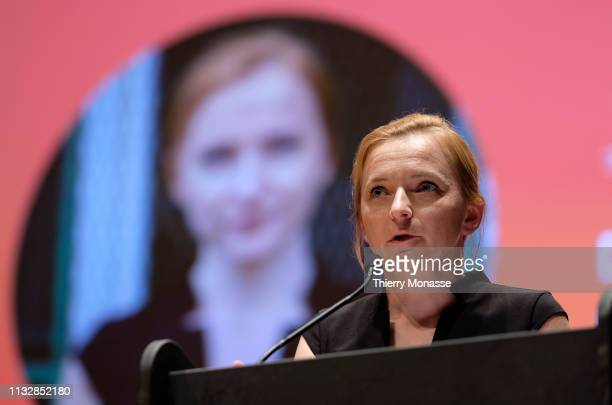 Leading candidate Daniela Platsch delivers a speech during the launch of the Democracy in Europe Movement 2025 on March 25 2019 in Brussels Belgium...