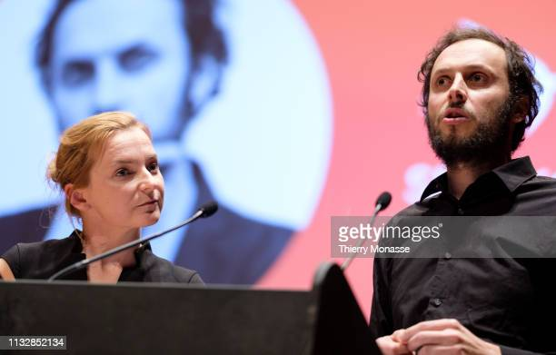 Leading candidate Daniela Platsch is listening to the Philosopher author and political activist Srecko Horvat during the launch of the Democracy in...
