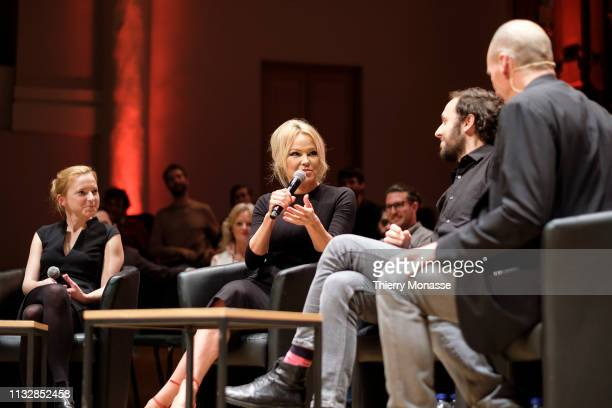 Leading candidate Daniela Platsch the activist for the animal rights movement Pamela Anderson the Philosopher author and political activist Srecko...