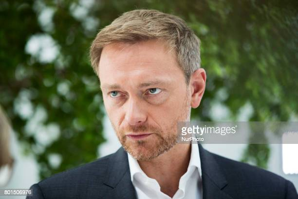 Leading candidate for the federal elections of the Free Democratic Party Christian Lindner is pictured during an interview at the...