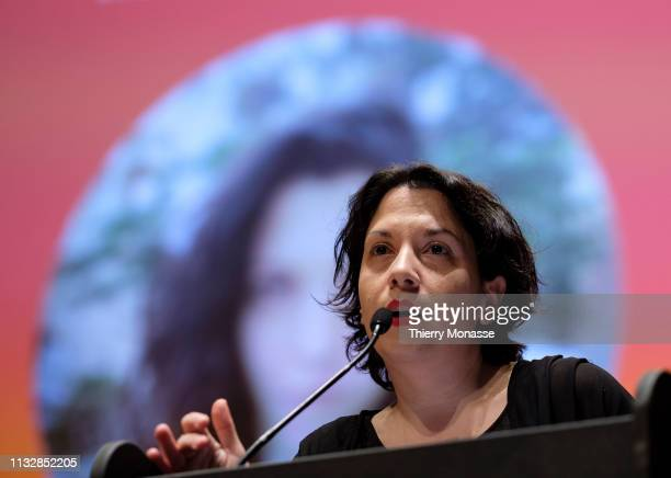 Leading candidate Fotini Bakadima delivers a speech during the launch of the Democracy in Europe Movement 2025 on March 25 2019 in Brussels Belgium...