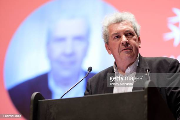 Leading candidate Jacques Terrenoire delivers a speech during the launch of the Democracy in Europe Movement 2025 on March 25 2019 in Brussels...
