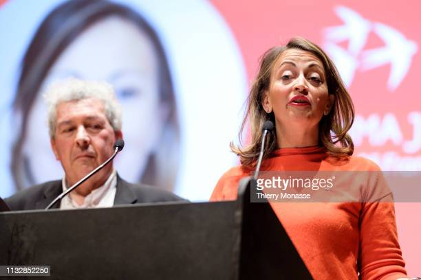 Leading candidate Jacques Terrenoire is listening to Emma Justum who delivers a speech during the launch of the Democracy in Europe Movement 2025 on...
