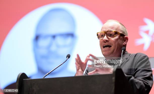 Leading candidate Rasmus Nordqvist delivers a speech during the launch of the Democracy in Europe Movement 2025 on March 25 2019 in Brussels Belgium...