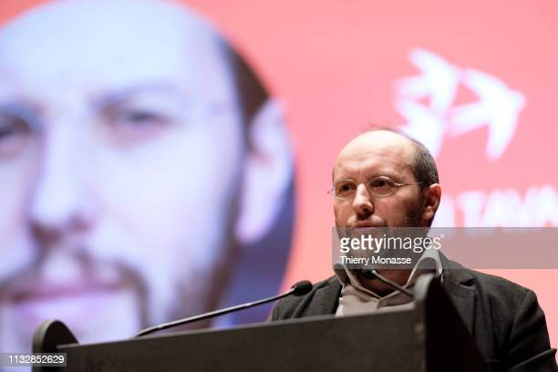 Leading candidate Rui Tavares delivers a speech during the launch of the Democracy in Europe Movement 2025 on March 25 2019 in Brussels Belgium...