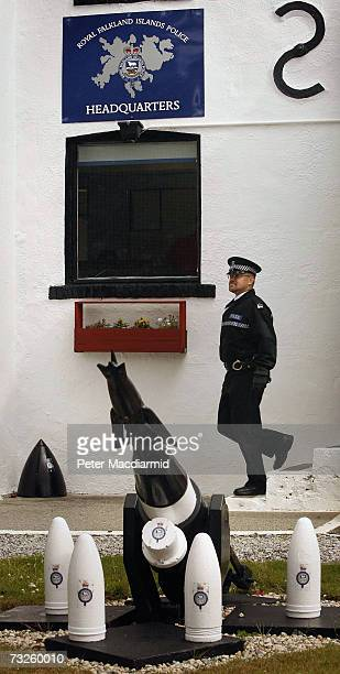 Leading Constable Kim Bone leaves the police station for a foot patrol on February 6 2007 in Stanley Falkland Islands