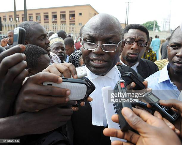 Leading counsel Bamidele Aturu speaks to media after Nigerian comic actor Babatunde Omidina known by the stage name as Baba Suwe was freed at the...
