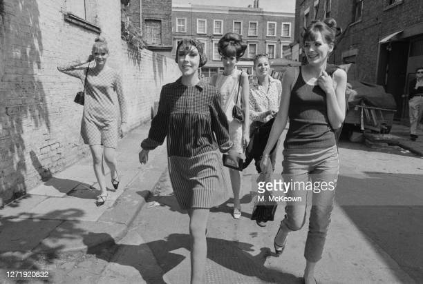 Leading fashion models Rosaleen Murray Peggy Moffit Melanie Hampshire Jill Kennington and Ann Norman UK 13th May 1966 They are all starring in the...