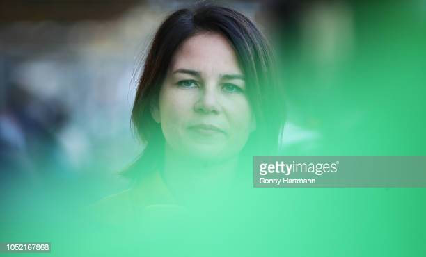 Leading German Greens Party member Annalena Baerbock arrives for a meeting of the party leadership the day after the Greens came in a strong second...