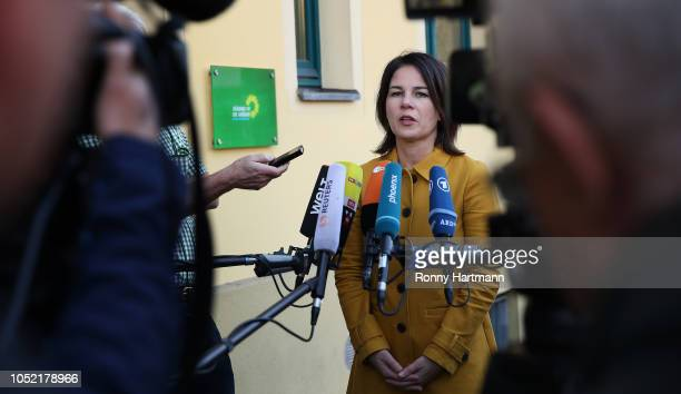 Leading German Greens Party member Annalena Baerbock speaks to the media before a meeting of the party leadership the day after the Greens came in a...