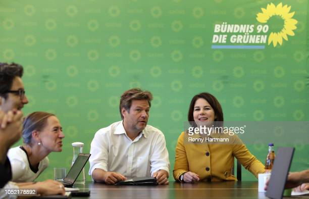 Leading German Greens Party members Robert Habeck and Annalena Baerbock attend a meeting of the party leadership the day after the Greens came in a...