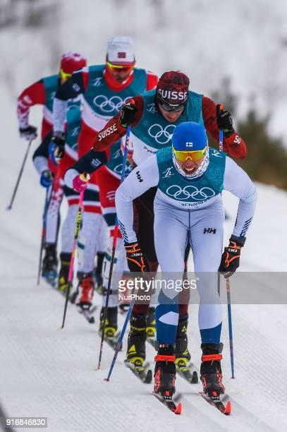 Leading group at Men's 15km 15km Skiathlon at olympics at Alpensia cross country stadium Pyeongchang South Korea on February 11 2018 Ulrik...