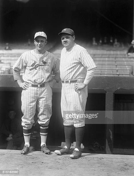 Leading Home Run Hitters Vie for Honors in World Series Bronx New York Jimmy Bottomley first baseman of the St Louis Cardinals and Babe Ruth...
