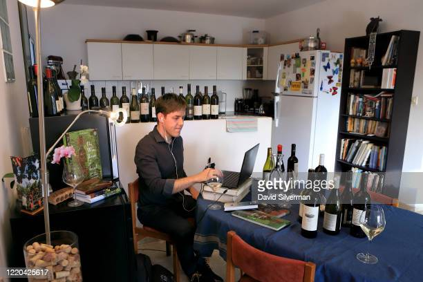 Leading Israeli wine tourism expert Guy Haran gives an online presentation about the Israeli wine industry using the Zoom Vidao Communication...