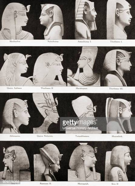 Leading kings and queens of ancient Egypt From top left to right Menkauhor Neferhotep Amenhotep I Thothmes I Queen Aahmes Thothmes II Hatshepsut...