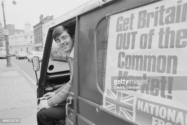 Leading member of the National Front Party Anthony Reed Herbert in a van campaigning to leave the European Economic Community also known as 'Common...