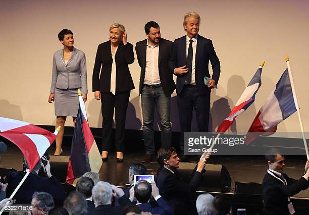 Leading members of European populist rightwing parties including Frauke Petry leader of the Alternative for Germany political party Geert Wilders...