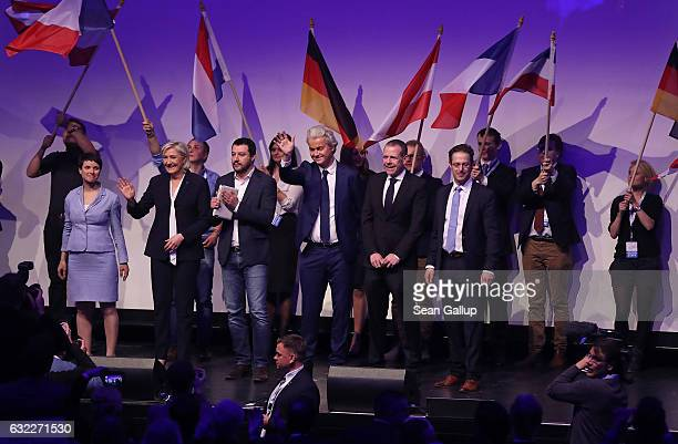 Leading members of European populist, right-wing parties, including Frauke Petry, leader of the Alternative for Germany political party, Geert...