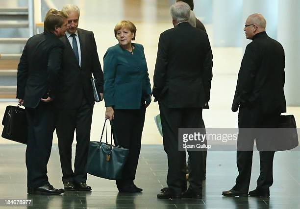 Leading members of the German Christian Democrats including Chairwoman and German Chancellor Angela Merkel as well as Horst Seehofer Chairman of the...
