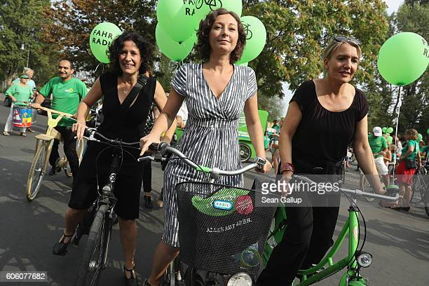 Leading members of the German Greens Party including local candidiate Ramona Pop party coleader Simone Peter and federal board member Bettina Jarasch...