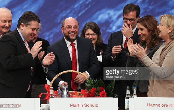 Leading members of the German Social Democrats , including German Vice Chancellor and Economy and Energy Minister and SPD Chairman Sigmar Gabriel and...