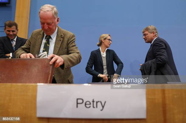 Leading members of the rightwing Alternative for Germany Alexander Gauland Alice Weidel and Joerg Meuthen depart following a press conference during...