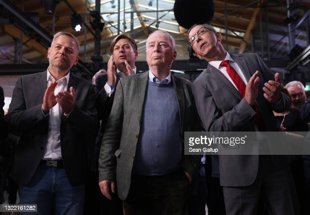 Leading members of the right-wing Alternative for Germany political party Leif-Erik Holm , Maximilian Krah , Alexander Gauland and Joerg Urban react...
