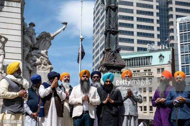 Leading members of the Sikh community gather in prayer at Monument Circle on April 18, 2021 in Indianapolis, Indiana. The vigil was held in the wake...