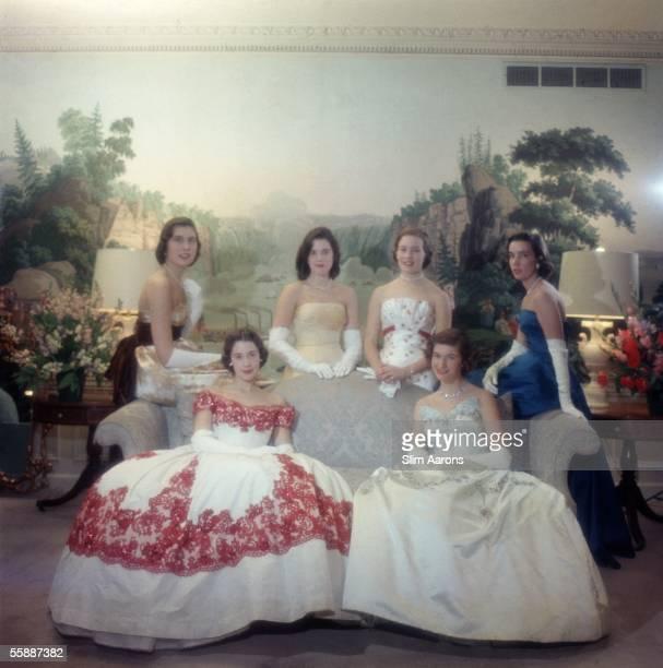 Leading New York debutantes of 1958 Standing left to right Linda McKay Stevenson Sandra Emerson Topping Elizabeth Sandra Lipson Huntington Wendy...