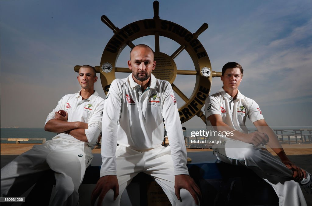 Leading off spinner Nathan Lyon (C) poses with younger spinners Ashton Agar and Mitchell Swepson during an Australia Test cricket squad training session at Marrara Cricket Ground on August 13, 2017 in Darwin, Australia. Lyon will use his experience to guide the other two when they play together in Bangladesh in a couple of weeks.
