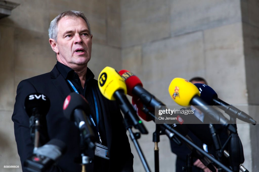 Leading police officer Jens MoellerJensen informs the press about yesterday evenings breakthrough in the murder case of Swedish journalist Kim Wall at the Copenhagen Police Yard on October 7, 2017 in Copenhagen, Denmark. Jensen said that Wall's head and legs and a bag containing her clothes were found in the Koege Bay near Copenhagen and subsequently identified as Kim Wall's. The search for the rest of Wall's body continues. The find in the sea was enabled with help from Swedish police dogs, specialized in underwater search techniques.
