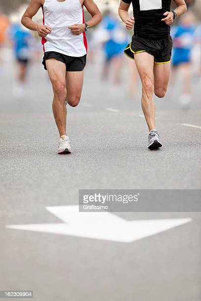 Leading position of two runners at city marathon