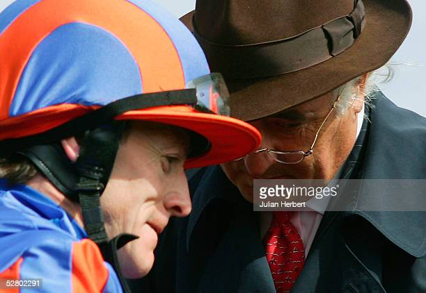 Leading racehorse owner John Magnier chats to jockey Kieren Fallon after Marcus Andrinicous won The totesport 0800 221 221 EBF Maiden at York...