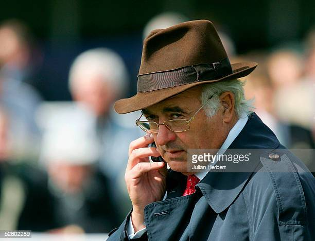 Leading racehorse owner John Magnier is seen at York Racecourse on the day he sold his shares in Manchester United Football Club on May 12 2005 in...