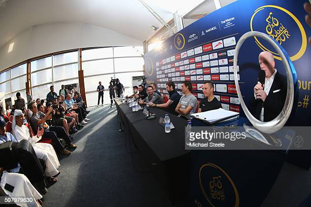 Leading riders Yousif Mirza, Elia Viviani, Marcel Kittel, Mark Cavendish, Sir Bradley Wiggins, Fabian Cancellara and Philippe Gilbert during a press...